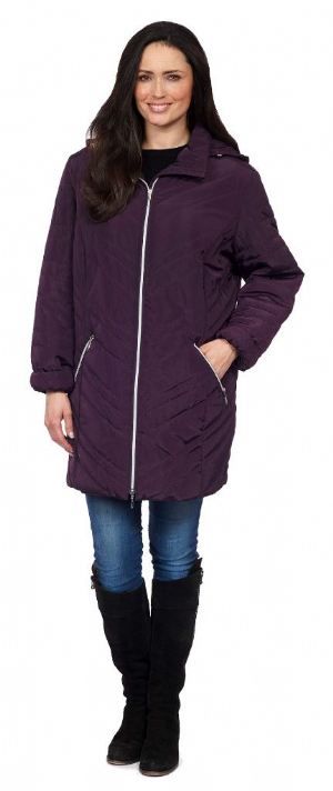 Womens ❤️Plus❤️ Purple Quilted Hooded Coat db188